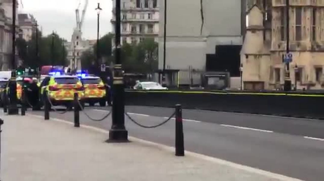 Car smashes into security barriers at the British Parliament