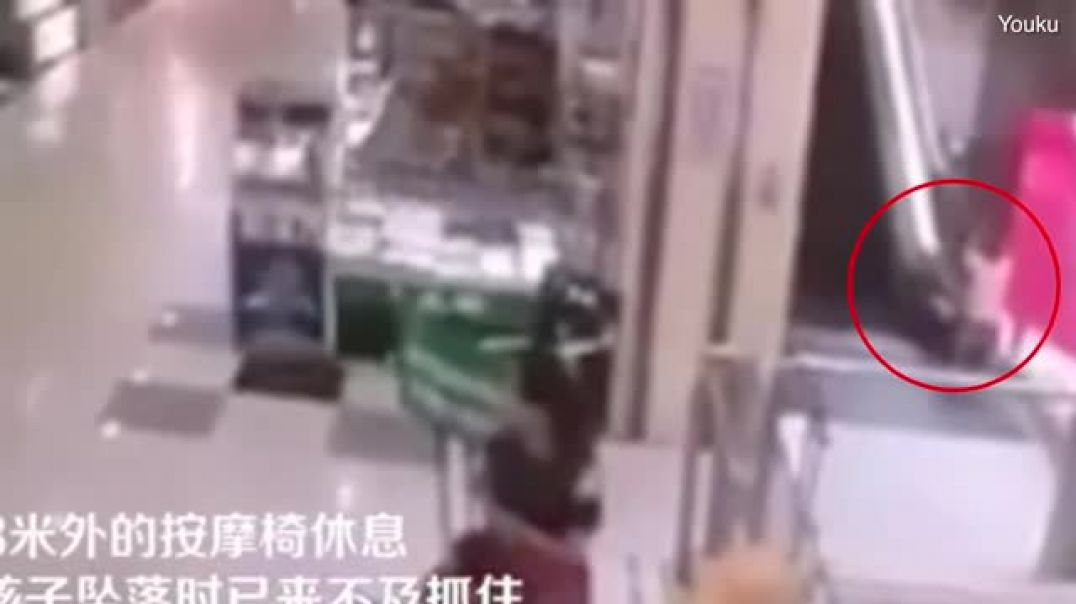 Chilling moment boy falls off escalator to death at Chinese mall