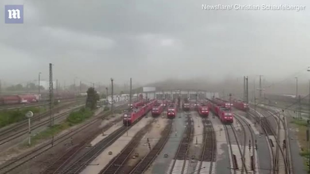Dramatic moment storm tears roof off station in Germany