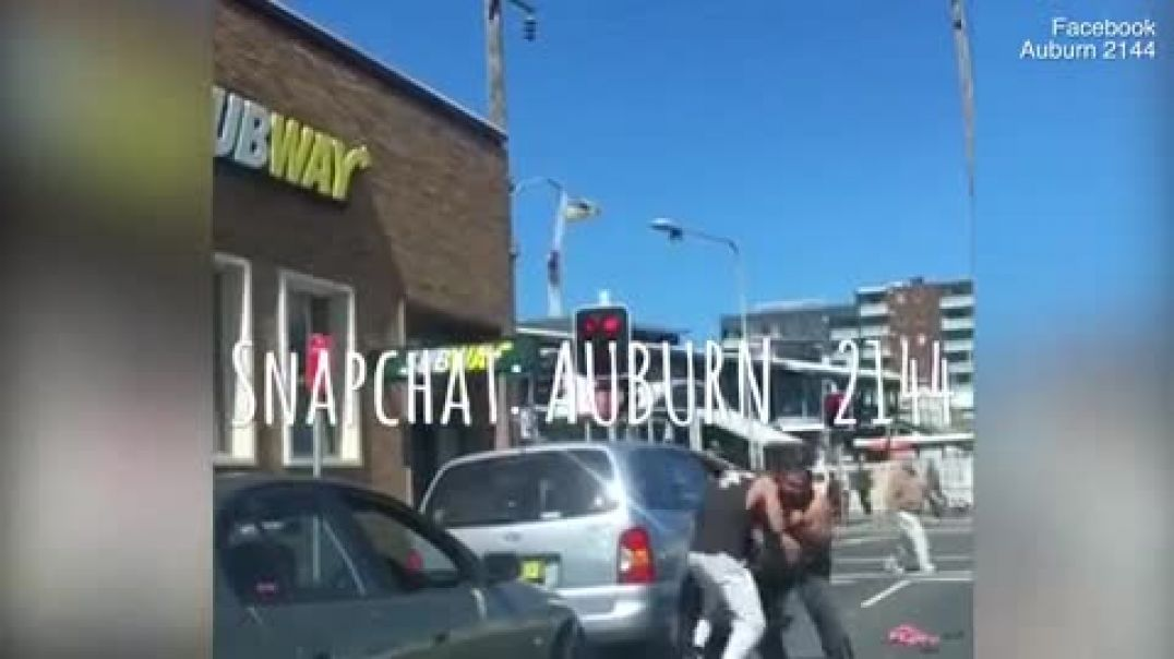 Topless men trade punches in shocking Sydney road rage brawl