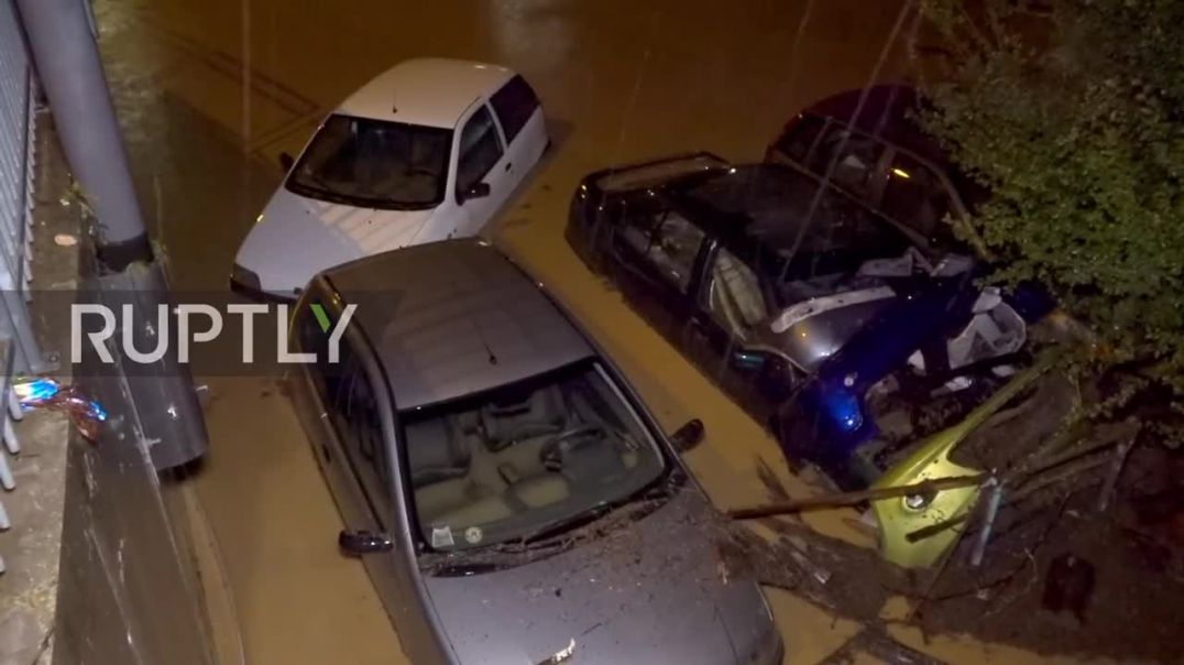 Italy Torrential rain sees floods submerge cars in Province of Verona