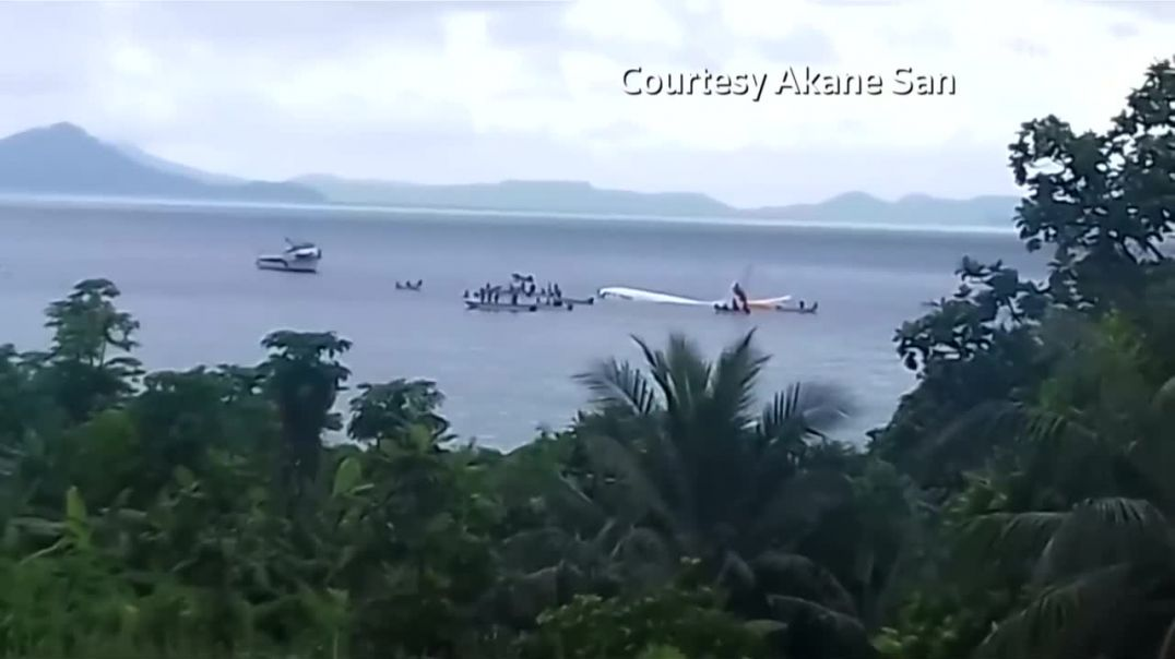 Plane overshoots runway in Micronesia and sinks