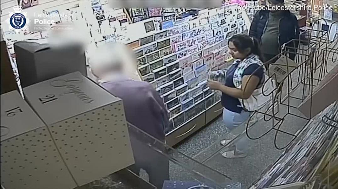 Shocking footage shows a couple steal an 86-year-old woman's