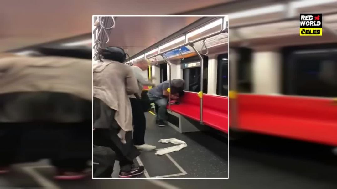 Two men are filmed throwing teen off train 'for blasting loud music'