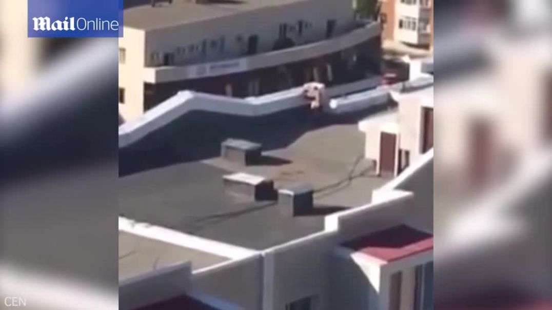 Caught on camera Couple have sex on a rooftop.mp4