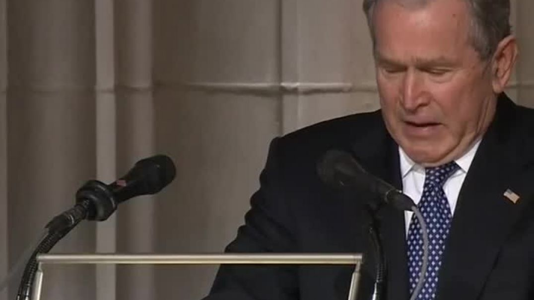President George W. Bush started crying at the end of his eulogy