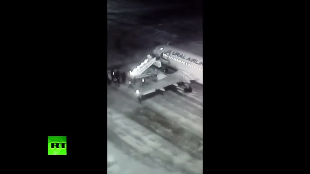 Caught on cam Airstair collapses as passengers board plane