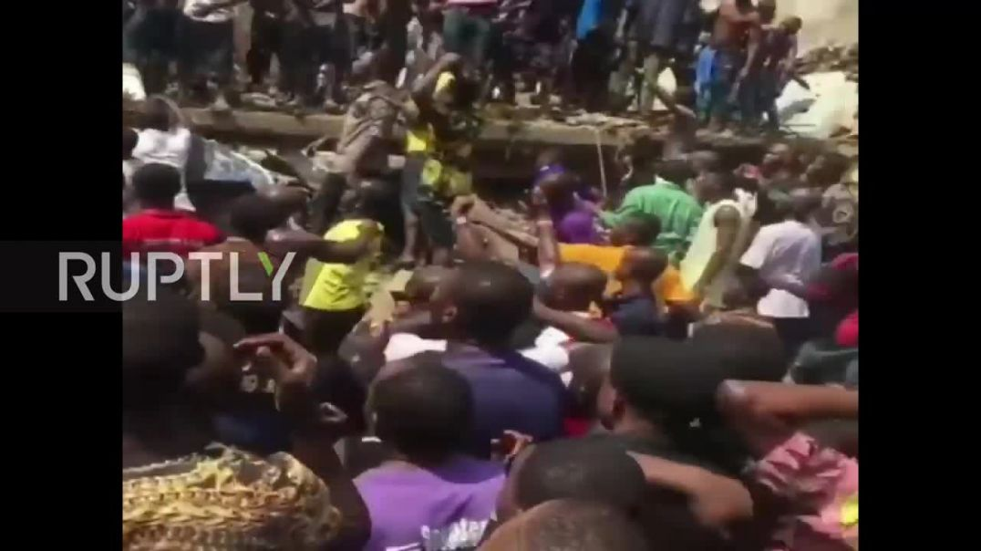 Nigeria Children reported trapped after school building collapses in Lagos.mp4