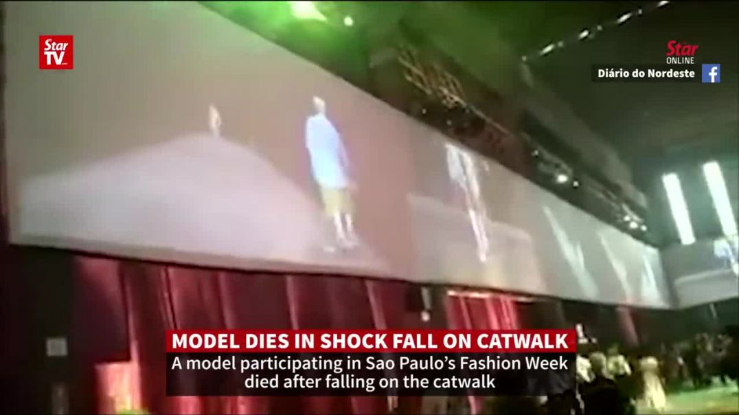 Male model Tales Soares dies after shock fall on San Paulo Fashion Week catwalk.mp4