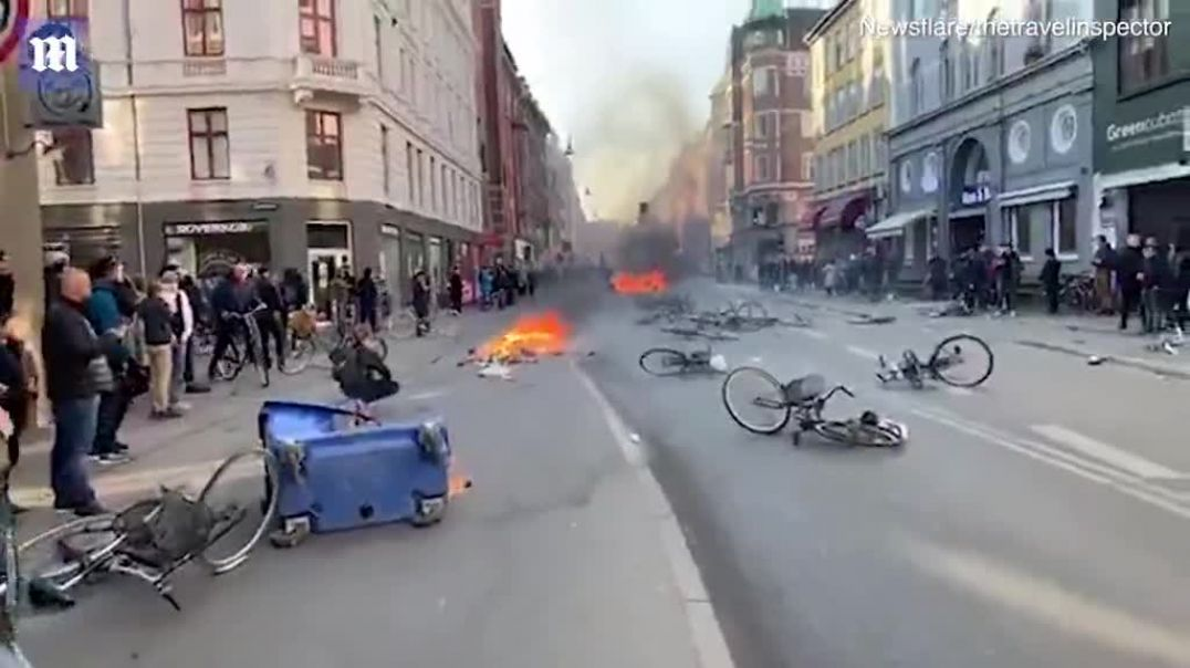 Violence and dozens of arson attacks break out in Copenhagen  Daily Mail Online.mp4