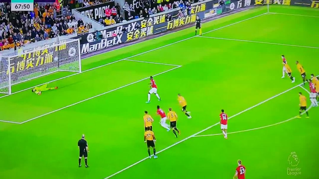 Wolves vs Manchester United 1-1 Pogba penalty miss.mp4