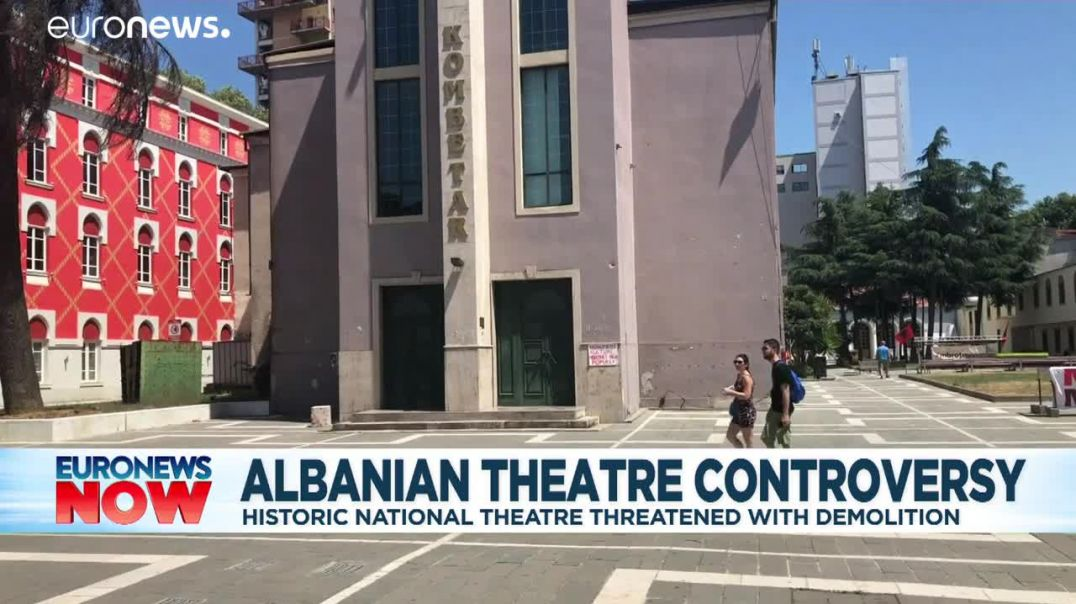 Protesters occupy Albanian National Theatre in attempt to save historic building.mp4