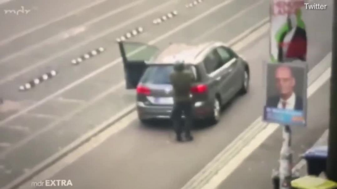 Terrifying moment Yom Kippur gunman opens fire on German streets