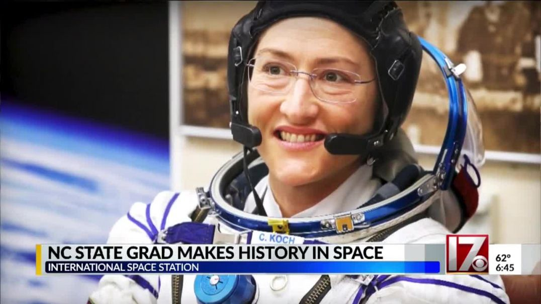 NC State grad Christina Koch sets record for longest spaceflight by a woman.mp4